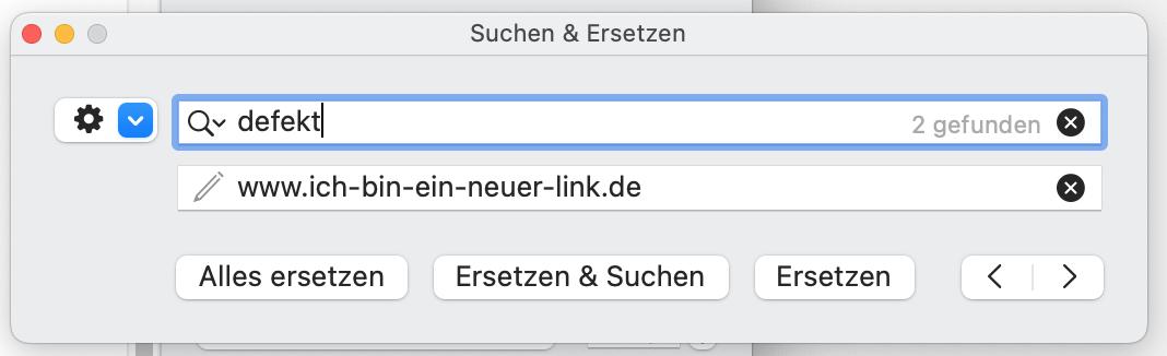 Defekte URL